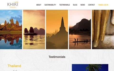 Screenshot of Testimonials Page khiri.com - Khiri Travel | Testimonials - captured Oct. 1, 2014
