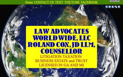 Screenshot of Home Page taxlawme.com - LAW ADVOCATES WORLDWIDE, LLC ROLAND COX, JD LLM, COUNSELLOR - captured Oct. 1, 2014
