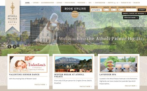 Screenshot of Home Page athollpalace.com - Pitlochry Hotels | Highland Hotel | Scottish Castle | Atholl Palace - captured Dec. 27, 2015