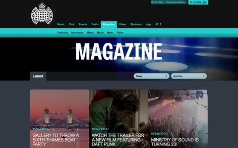 Screenshot of Press Page ministryofsound.com - Ministry of Sound Magazine | News, Features and more - captured Sept. 18, 2014
