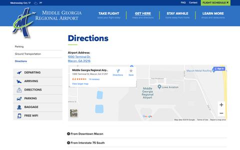 Screenshot of Maps & Directions Page iflymacon.com - Directions - Get Here - Middle Georgia Regional Airport - captured Oct. 18, 2018