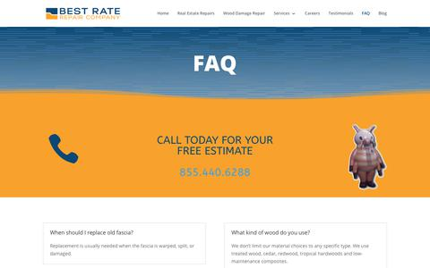 Screenshot of FAQ Page best-rate-repair.com - Questions and Answers | Best Rate Repair & Construction - captured Nov. 13, 2018