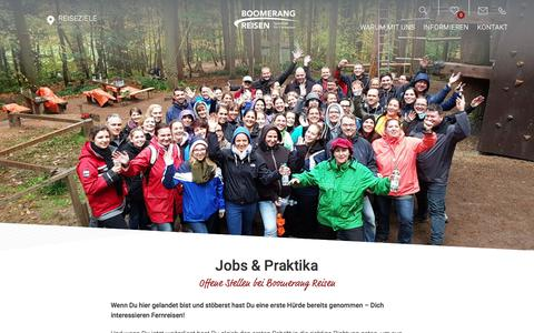 Screenshot of Jobs Page boomerang-reisen.de - Jobs & Praktika - Boomerang Reisen - Spezialist für Fernreisen - captured Feb. 3, 2018