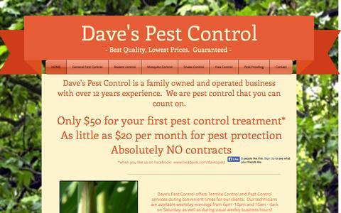 Screenshot of Home Page davesbugs.com - Daves Pest Control - captured Oct. 5, 2014