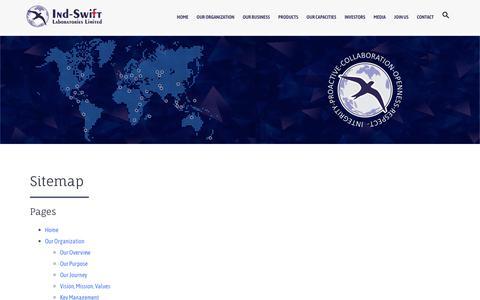 Screenshot of Site Map Page indswiftlabs.com - Sitemap | Ind-Swift Laboratories Ltd. - captured Oct. 11, 2018