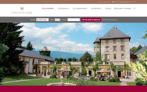 Screenshot of Home Page chateaudecandie.com - Hôtel Chambéry Luxe 4 étoiles : Le Chateau de Candie - captured Oct. 14, 2015
