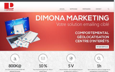 Screenshot of Home Page dimona-marketing.fr - Dimona | Editeur e-mailing français pour routage de masse - captured Sept. 30, 2014