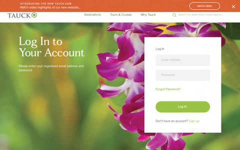 Screenshot of Login Page tauck.com - Log in - captured March 2, 2019