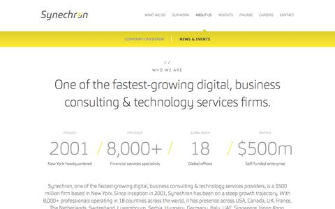 Screenshot of About Page synechron.com - About Us   Synechron - captured July 18, 2018