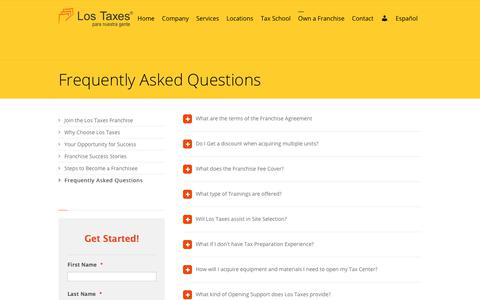 Screenshot of FAQ Page lostaxes.com - Frequently Asked Questions - Los Taxes Para Nuestra Gente - captured Sept. 10, 2017