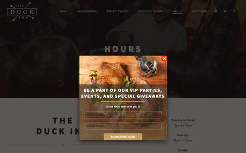 Screenshot of Hours Page theduckinnchicago.com - Hours - The Duck Inn - captured March 15, 2016