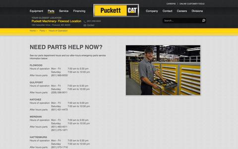 Screenshot of Hours Page puckettmachinery.com - Emergency Parts Service - captured Oct. 3, 2014
