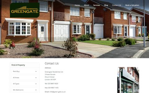 Screenshot of Contact Page green-gate.co.uk - Contact Us | Green Gate Residential - captured Nov. 14, 2016