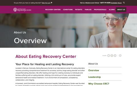 Screenshot of About Page eatingrecoverycenter.com - Eating Recovery Center - About Us | Eating Recovery Center - captured Jan. 19, 2017