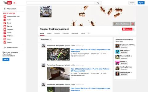 Screenshot of YouTube Page youtube.com - Pioneer Pest Management  - YouTube - captured Oct. 22, 2014