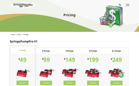 Screenshot of Pricing Page syringepumppro.com - Pricing - SyringePumpPro - captured Nov. 15, 2017