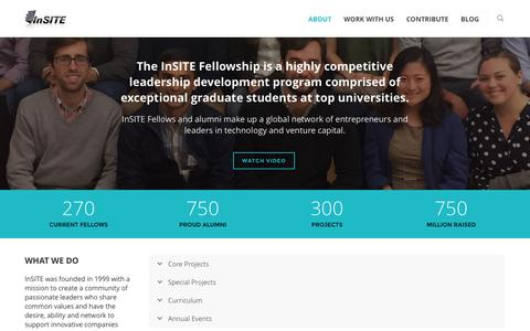 Screenshot of Home Page insitefellows.org - InSITE Fellows |  A highly competitive leadership development program comprised of exceptional graduate students at top universities. - captured Nov. 26, 2016