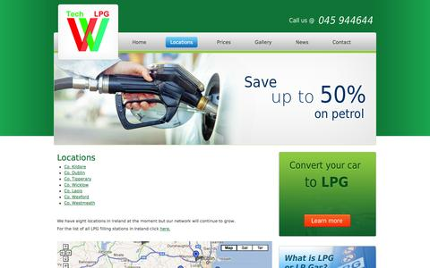Screenshot of Locations Page lpg.ie - Locations | VV-Tech LPG Limited - captured Oct. 26, 2014