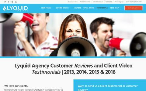 Screenshot of Testimonials Page lyquidagency.com - Testimonials and Reviews of Lyquid Agency - Lyquid Agency - captured July 19, 2016