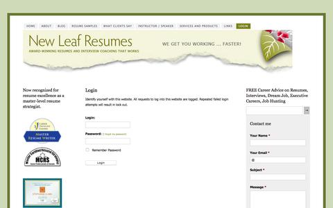 Screenshot of Login Page newleafresumes.ca - Login - Professional resume writer and interview coach. - captured Jan. 13, 2016