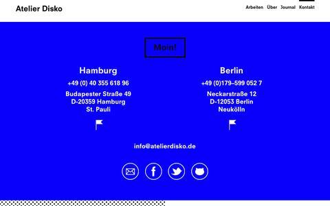 Screenshot of Contact Page atelierdisko.de - Kontakt – Atelier Disko - captured Sept. 30, 2014