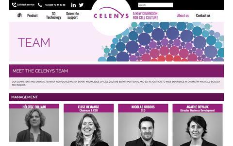 Screenshot of Team Page celenys.com - CELENYS |           Meet the CELENYS team - captured Dec. 5, 2015