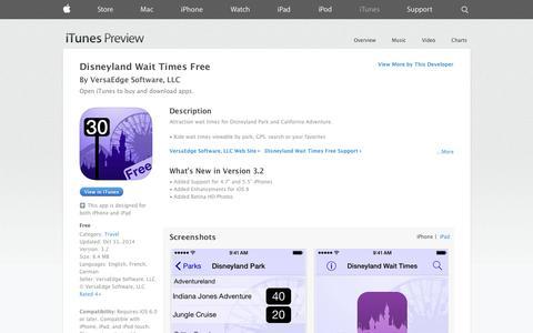 Screenshot of iOS App Page apple.com - Disneyland Wait Times Free on the App Store on iTunes - captured Nov. 1, 2014