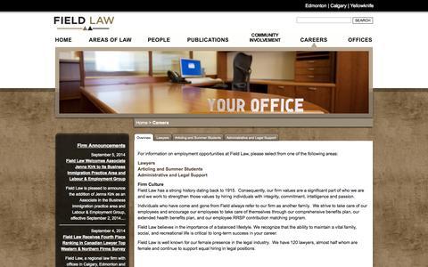 Screenshot of Jobs Page fieldlaw.com - Field Law - Careers - captured Sept. 30, 2014