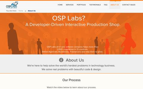 Screenshot of About Page osplabs.com - About Us - A Developer-Driven Interactive Production Shop. - captured Nov. 5, 2014