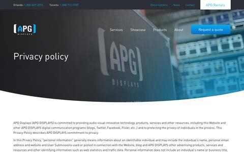 Screenshot of Privacy Page apgdisplays.com - Privacy Policy | APG Displays - captured Nov. 6, 2018