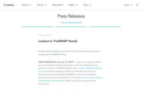 Screenshot of Press Page lookout.com - Lookout is 'FedRAMP Ready' - captured May 23, 2017