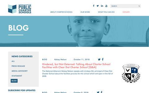 Screenshot of Blog publiccharters.org - Blog | National Alliance for Public Charter Schools - captured Oct. 18, 2018