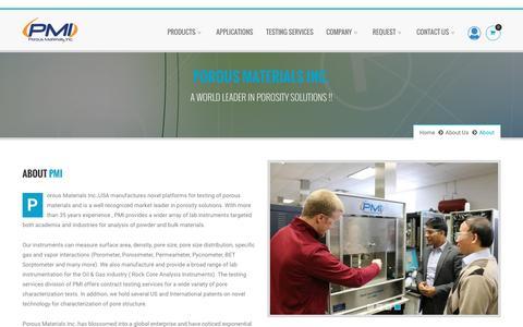 Screenshot of About Page pmiapp.com - Porous Materials Inc. - captured Nov. 8, 2016