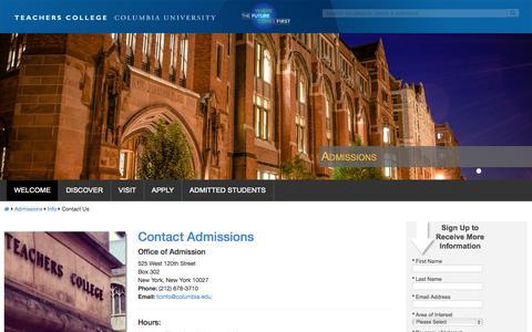 Screenshot of Contact Page columbia.edu - Contact Us | Teachers College Columbia University - captured Sept. 22, 2014