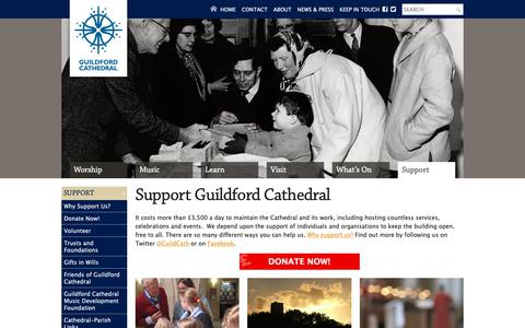 Screenshot of Support Page guildford-cathedral.org - Guildford Cathedral - Support - captured Oct. 22, 2018
