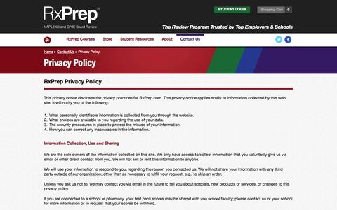 Screenshot of Privacy Page rxprep.com - Privacy Policy - captured Sept. 22, 2014