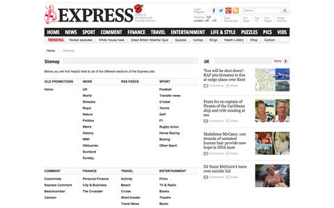 Screenshot of Site Map Page express.co.uk - Express. Home of the Daily and Sunday Express - captured Oct. 29, 2014