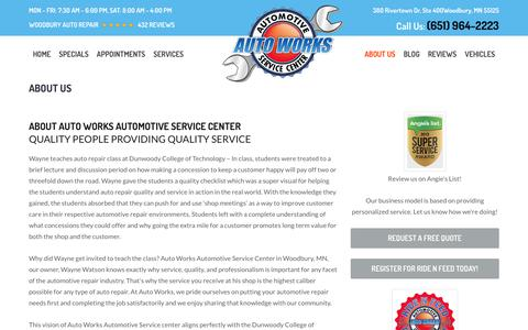 Screenshot of About Page autoworksmn.com - About Us | Auto Works Automotive Service - captured Oct. 9, 2017