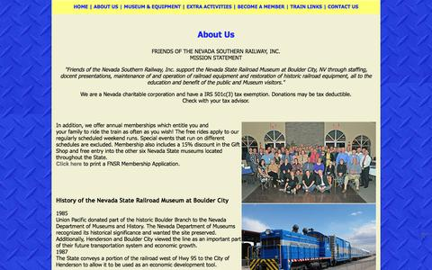 Screenshot of About Page nevadasouthern.com - Nevada Southern Railway - captured June 14, 2016