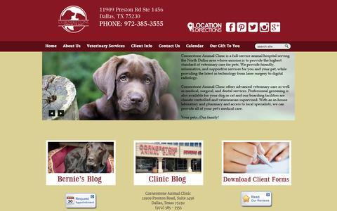 Screenshot of Home Page cornerstoneanimalclinic.com - Veterinarian in Dallas, TX | Cornerstone Animal Clinic - captured June 16, 2015