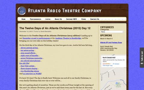 Screenshot of Press Page artc.org - News Archives - Atlanta Radio Theatre Company - captured Feb. 6, 2016