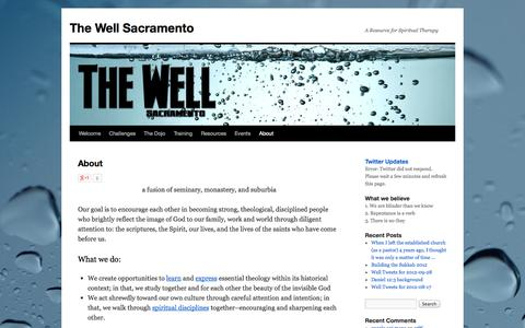 Screenshot of About Page thewellsacramento.org - About | The Well Sacramento - captured Sept. 30, 2014