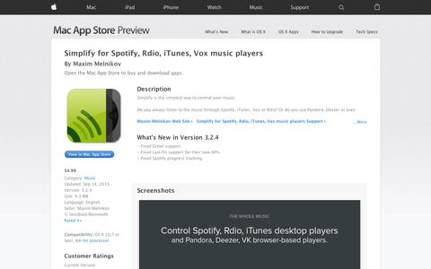 Screenshot of iOS App Page apple.com - Simplify for Spotify, Rdio, iTunes, Vox music players on the Mac App Store - captured Nov. 17, 2015