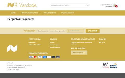 Screenshot of FAQ Page editoraverdade.com.br - Perguntas Frequentes - captured Sept. 29, 2018