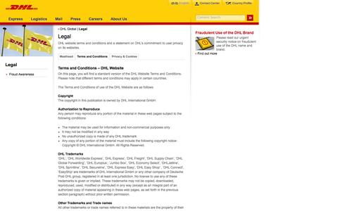 Screenshot of Terms Page dhl.com - DHL | Legal | English - captured Sept. 19, 2014