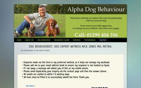 Screenshot of Contact Page alphadogbehaviour.co.uk - Contact Page for Nick Jones MA. Dog Behaviourist. Dog Expert Witness. Alpha Dog Behaviour Ltd - captured Dec. 24, 2015