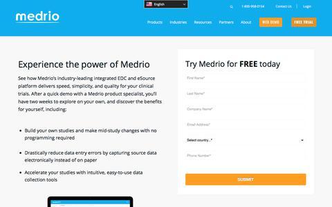 Screenshot of Trial Page medrio.com - Free Trial - Medrio - captured Oct. 16, 2019