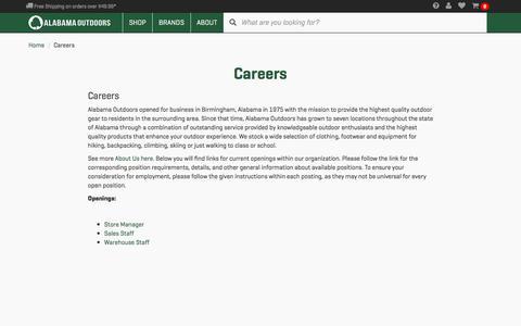 Screenshot of Jobs Page alabamaoutdoors.com - Careers - Alabama Outdoors - captured Nov. 20, 2016