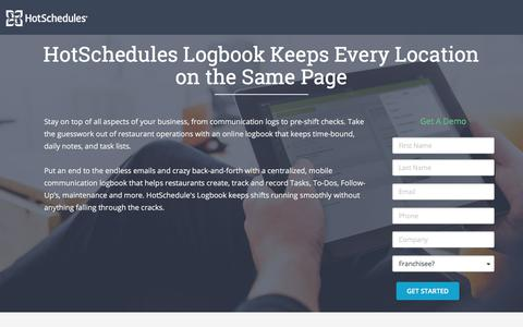 Screenshot of Landing Page hotschedules.com - HS Logbook Demo - captured March 8, 2018