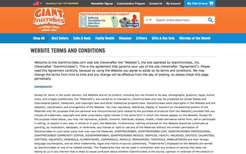 Screenshot of Terms Page giantmicrobes.com - GIANT microbes | Website Terms and Conditions - captured Nov. 6, 2016